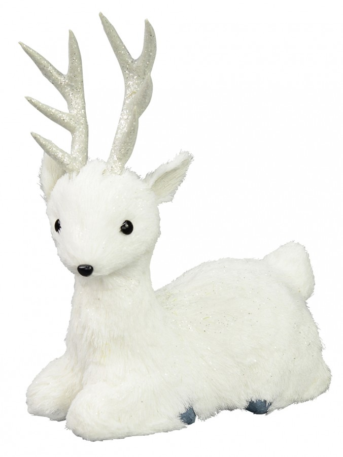 Sitting White Pine Needle Style Reindeer - 27cm