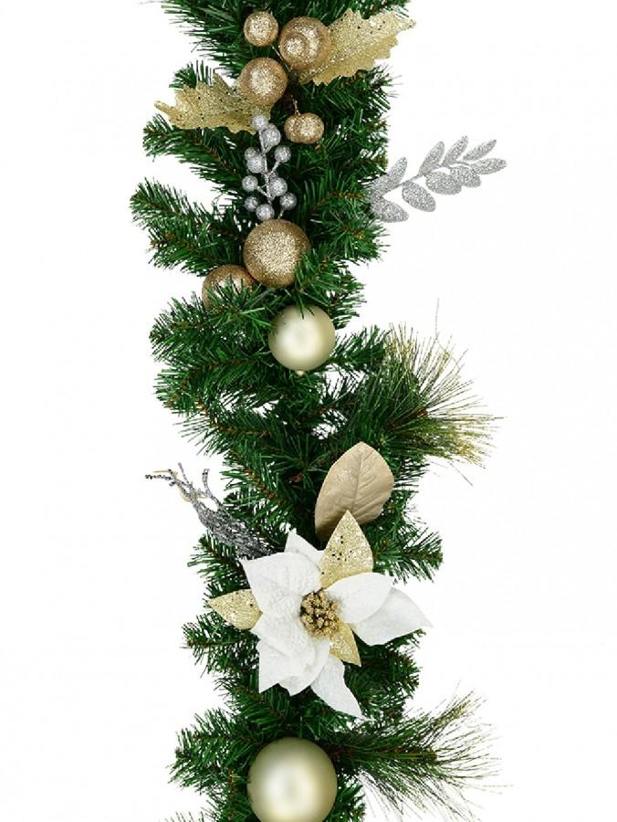 Decorated White Poinsettia, Mistletoe, Berries & Baubles Pine Garland - 2.3m