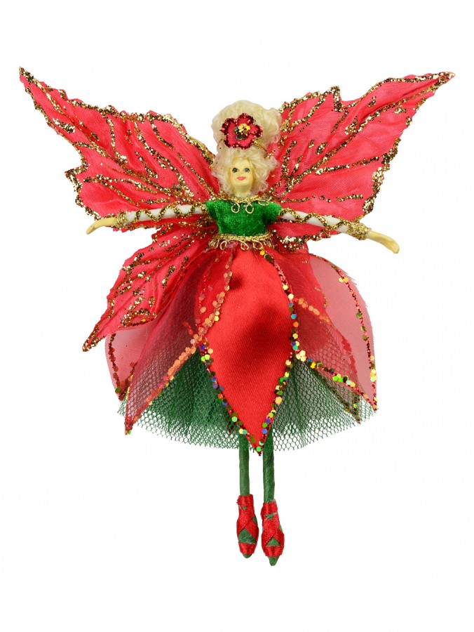 Red Dress & Wings Christmas Fairy Hanging Ornament - 18cm