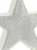 White With Silver Glitter Free Standing Star Ceramic Christmas Ornament - 14cm