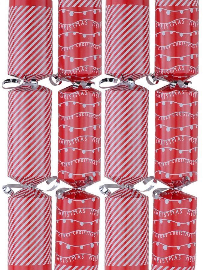 Red With White Strings & Stripes Christmas Cracker Bon Bons - 12 x 31cm
