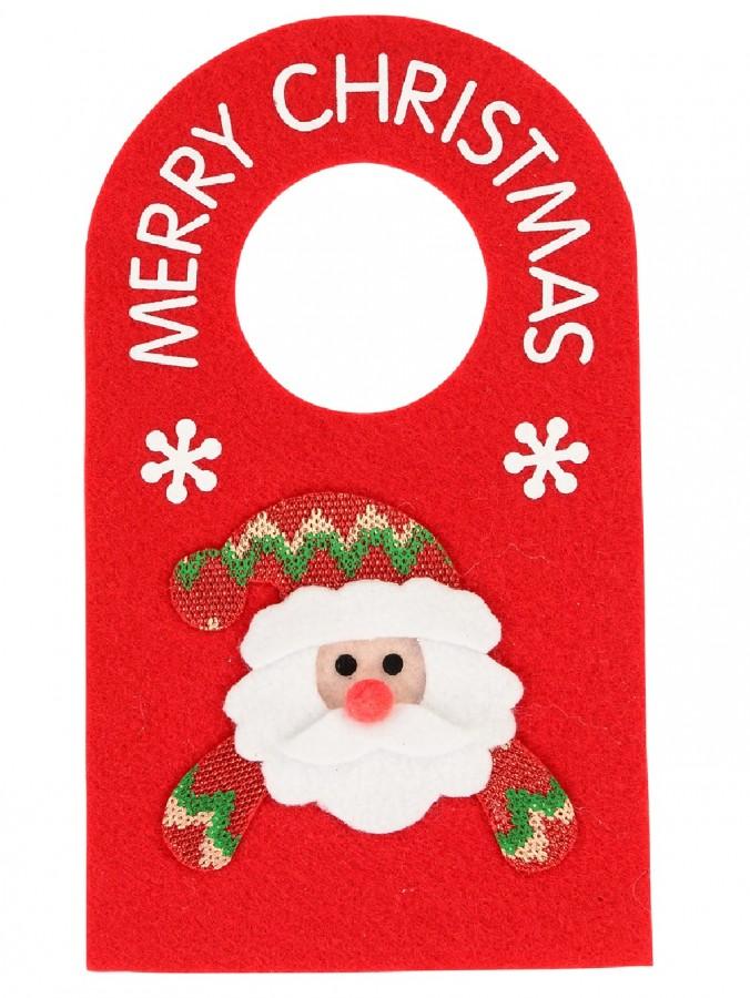 Red Felt Door Hanger Decoration With Merry Christmas & Santa Face - 28cm