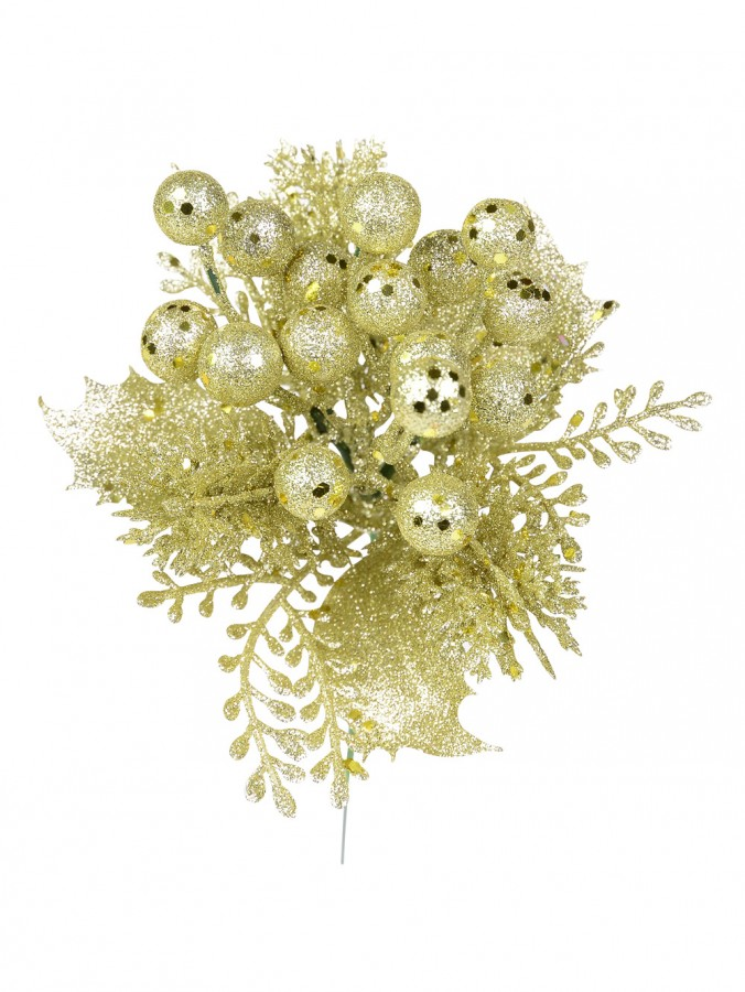 Champagne Glitter Pick With Holly Leaves, Branches & Berries - 20cm