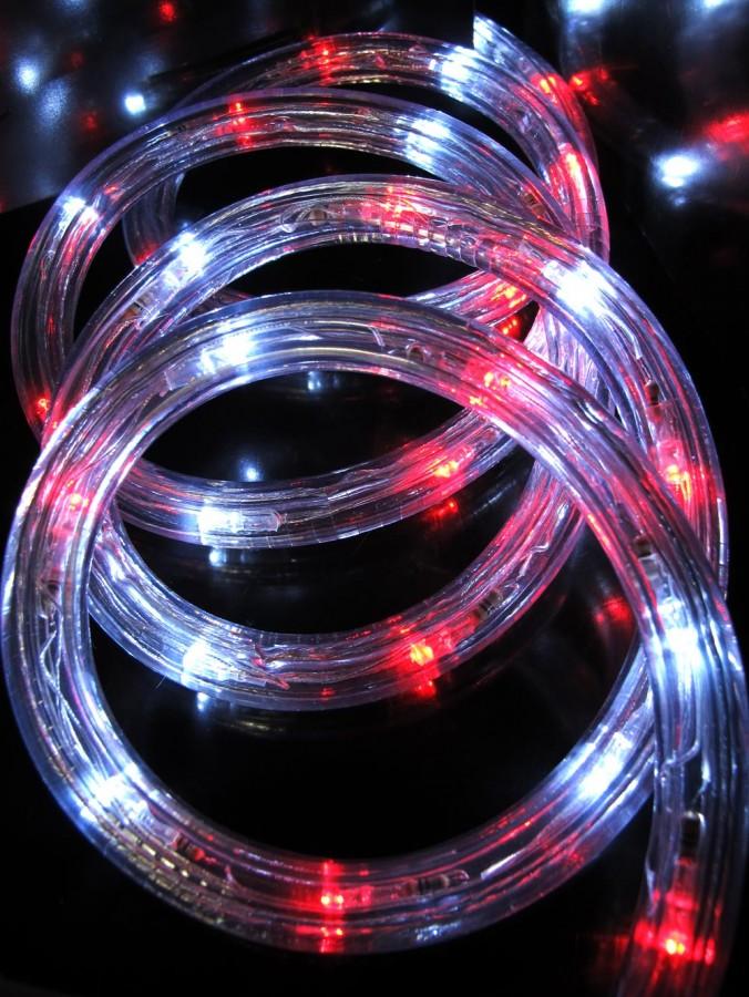 240 Red & Cool White LED Tube Rope Light - 10m