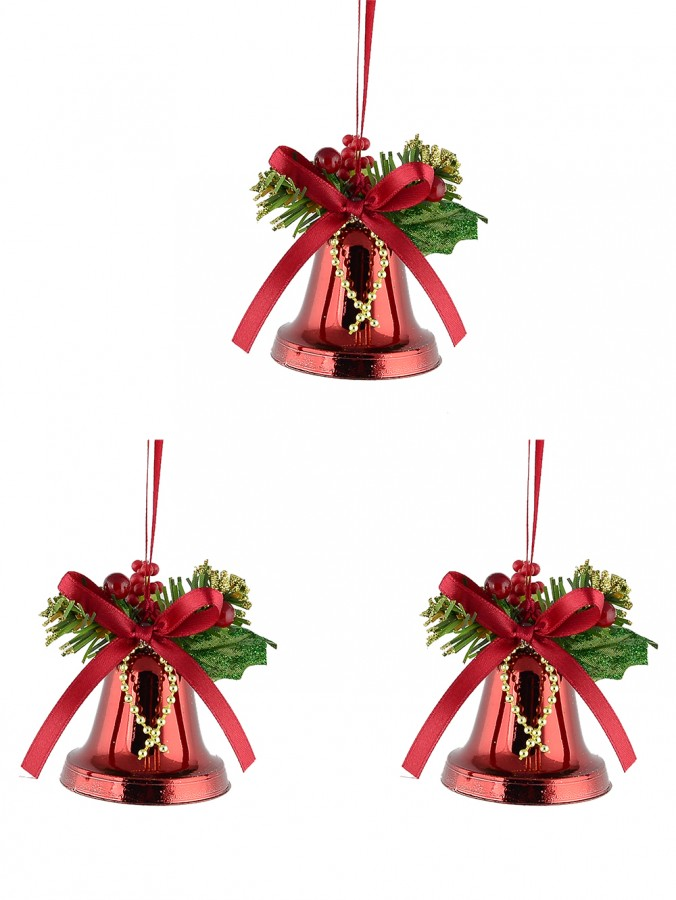 Hanging Decorated Red Bells  - 3 x 50mm