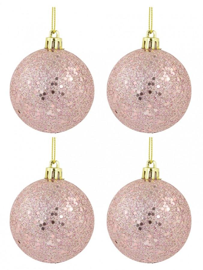 Pink Metallic Sequins & Glitter Coated Baubles - 12 x 60mm