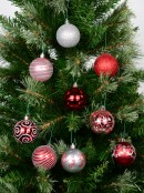 Various Red & Silver Baubles With Plain & Glittered Patterns  - 9 x 60mm