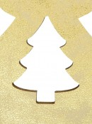 Gold Natural Wood 2D Christmas Tree Hanging Decoration - 12cm