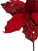 Red Sequin & Fabric Petal Decorative Poinsettia Floral Pick - 16cm
