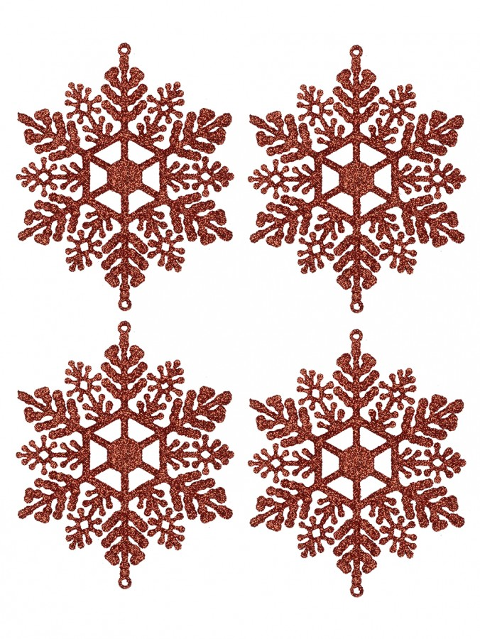 Red Glittered Snowflake Decorations - 12 x 10cm