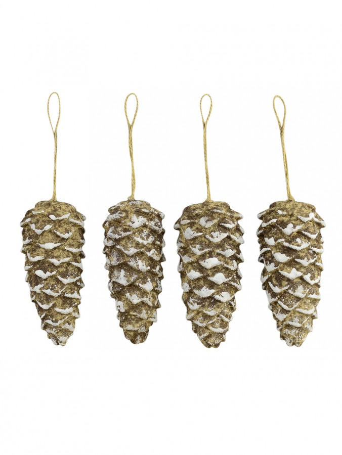 Rustic Pine Cone Decorations - 4 x 11cm