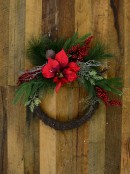 Decorated Wire Spun Wreath With Berries, Mixed Foliage & Red Poinsettia - 50cm
