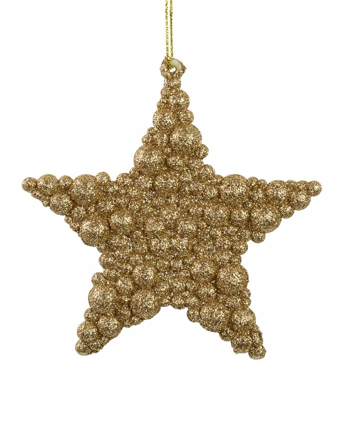 Glittered Rose Gold Bubble Textured Star Hanging Decoration - 95mm