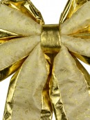 Large Champagne & Gold Bow With  Floral Pattern Display Decoration - 50cm