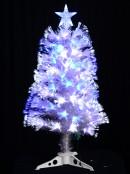Blue & Cool White LED Fibre Optic Tree With Transparent Leaves - 90cm