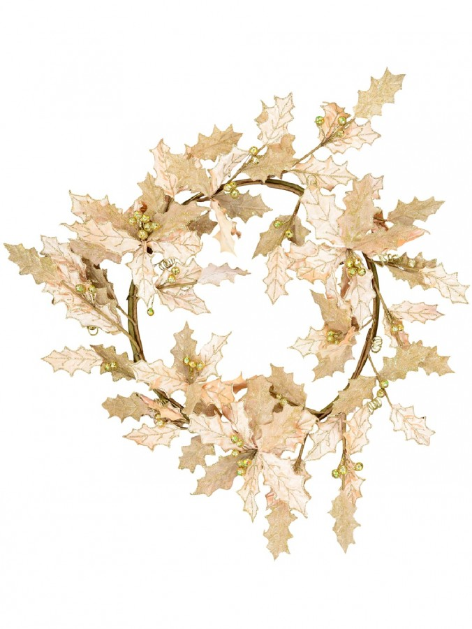 Decorative Two Leaf Style Pink Holly With Gold Berries Wreath - 60cm