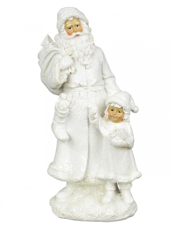 White Santa with Child Standing Ornament - 23cm