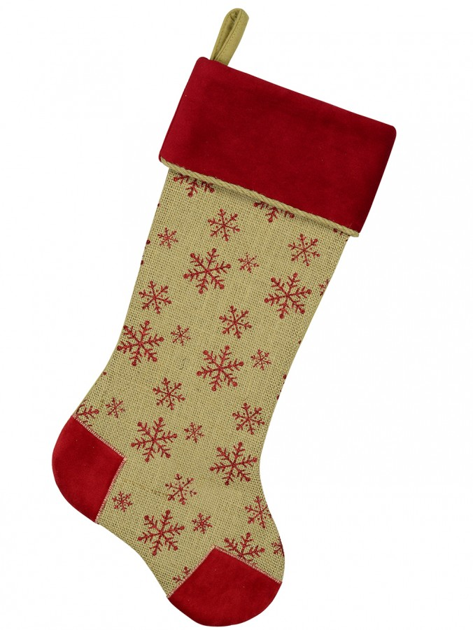 Burlap Stocking With Red Glittered Snowflake Pattern - 52cm