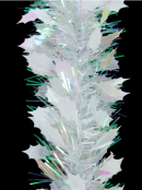 White Holly Leaf & Iridescent Pine Needle Christmas Tinsel Garland - 2.7m
