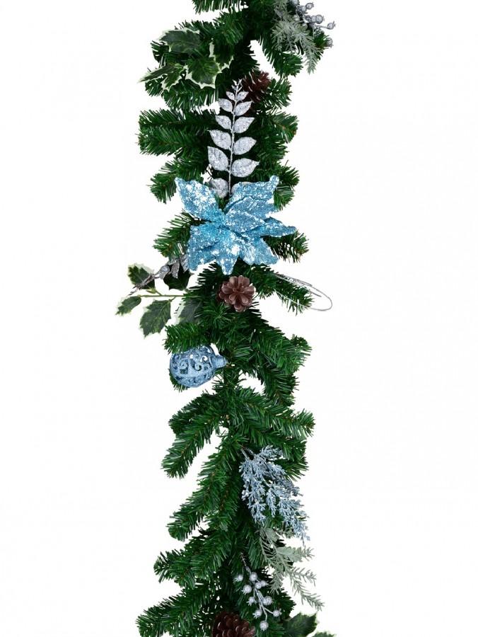 Pre-Decorated Blue Poinsettia, Pine Cone, Foliage & Baubles Pine Garland - 2.7m