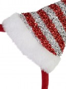 Red Christmas Headband With Red & Silver Santa Hat With White Trim - 26cm
