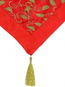 Red Christmas Table Runner With Green Holly Leaf Design & Gold Tassel - 1.4m
