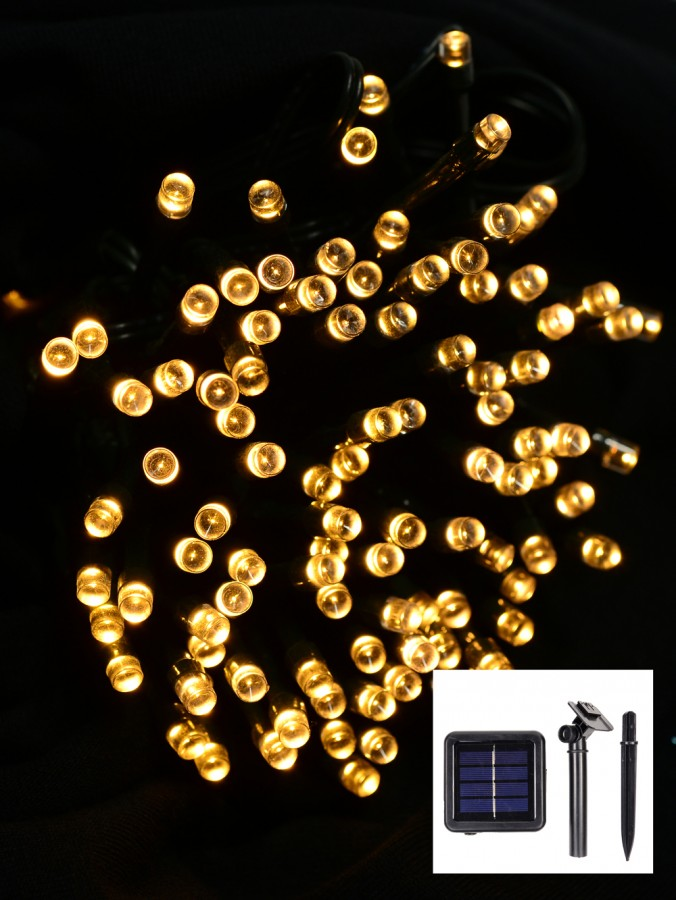 200 Warm White Concave LED Bulb Solar Powered String Fairy Lights - 20m