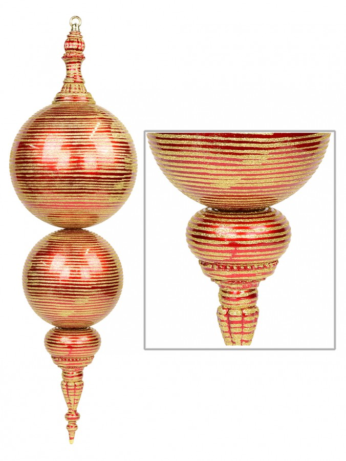 Large Metallic Apple Red Display Finial With Gold Glitter Striping - 85cm