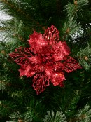 Red Two Leaf Style Glittered Decorative Poinsettia Floral Pick - 18cm