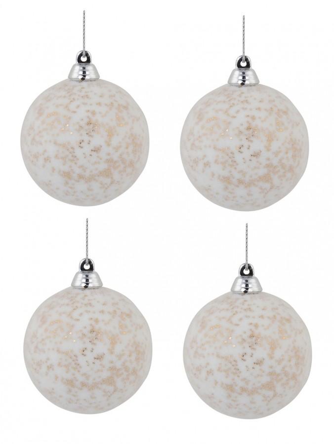 White Furry Foam Baubles With Champagne Flecks - 6 x 60mm