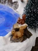 Pond Skating Christmas Scene With Santa, Reindeer & Christmas Critters - 33cm