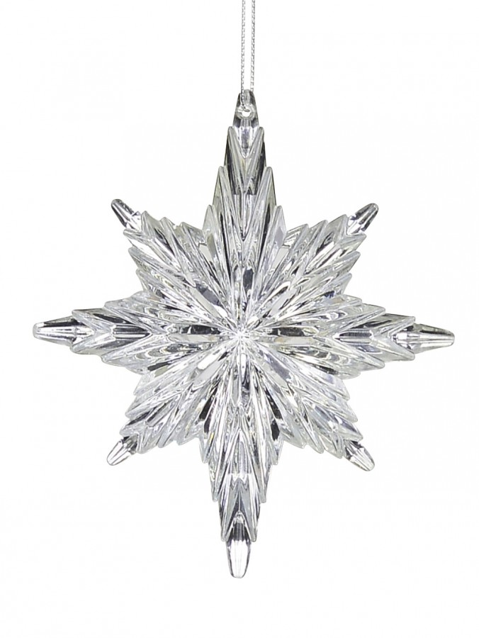 Silver Snowflake Look Star Hanging Ornament - 12cm