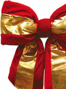 Large Red Velvet Bow With Shiny Gold Stripe Display Decoration - 45cm