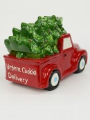Ceramic Christmas Tree In Red Ute 'Urgent Cookie Delivery' Cookie Jar - 30cm