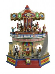 illuminated animated musical carousel gift shop scene 26cm - Animated Christmas Village