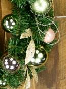 Decorated Pink & Mint Baubles, Whisker Loops & Leaf Stem Pine Wreath - 45cm