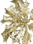 Gold Glitter Decorative Mistletoe & Holly Floral Pick - 28cm