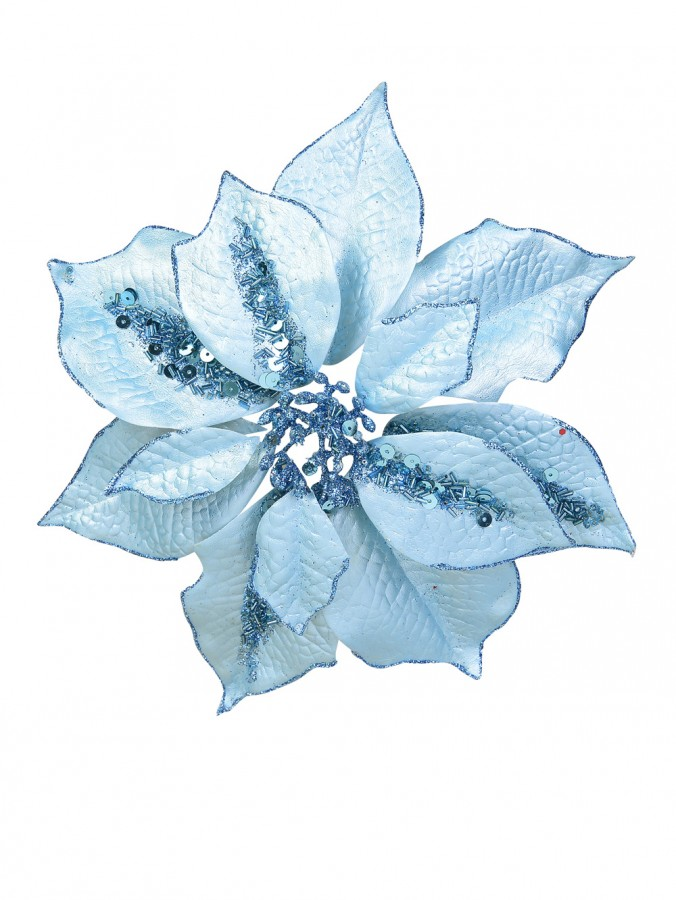 Light Blue Poinsettia Clip On - 28cm