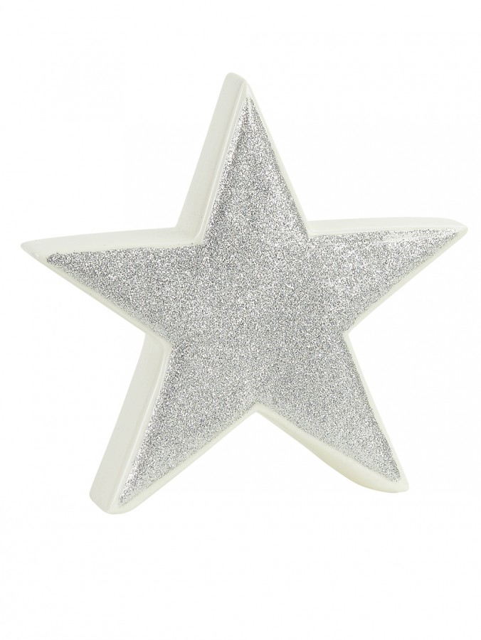 White Ceramic With Silver Glitter Free Standing Star Ornament - 14cm
