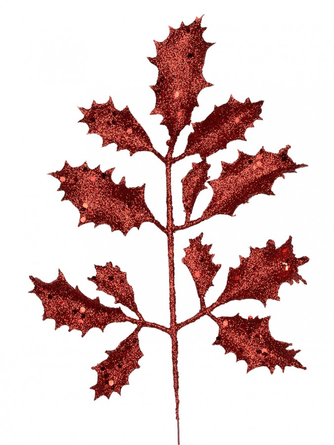 Red Glittered Decorative Holly Leaf Pick - 15cm