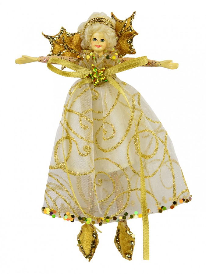 Christmas Fairy Hanging Ornament With Gold Wings & Gold Swirl Print - 15cm