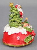 Santa with Tree & Reindeer On Red Snow Covered Dome With LED Lights - 13cm