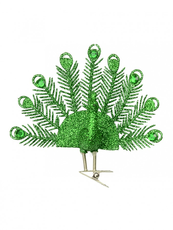 Emerald Green Peacock Tree Decoration - 13cm