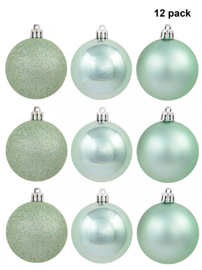 Mint Green Matte, Glitter & Shiny Baubles - 12 x 60mm