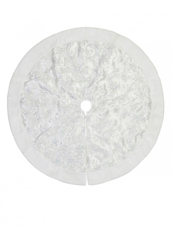 White With Sequin Swirl Pattern & Faux Fur Trim Christmas Tree Skirt - 1.2m