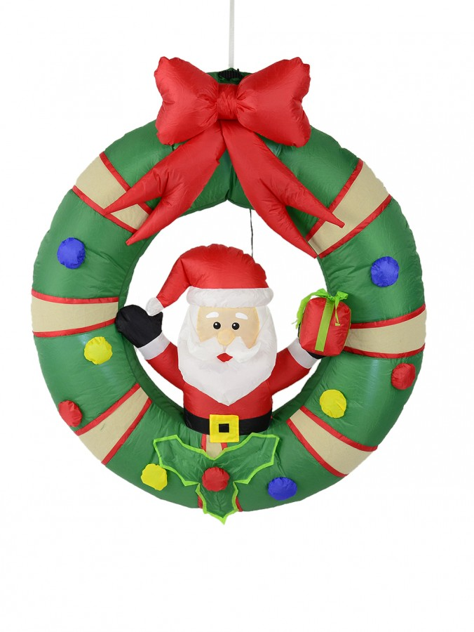Hanging Decorated Wreath With Santa Illuminated Inflatable - 1.3m