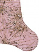 Pink Satin With Gold Sequin Starburst Pattern Christmas Stocking - 48cm