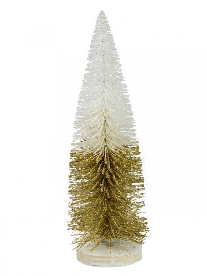 White & Gold Wire Tree Table Top Ornament - 31cm