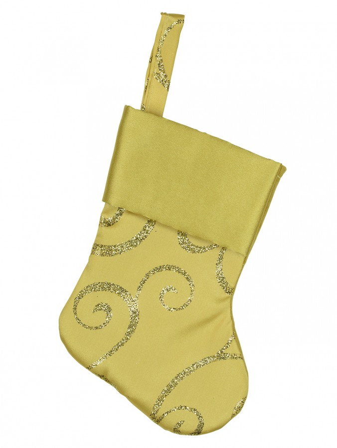 Mini Gold Satin Christmas Stocking Hanging Decorations - 6 x 15cm