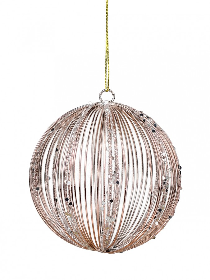 Rose Gold Wire Glittered Bauble Shape Hanging Decoration - 80mm
